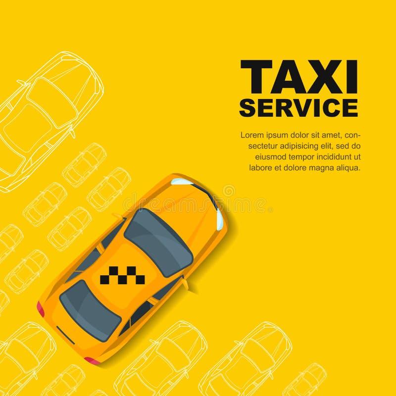 Tjänste- begrepp för taxi Mall för vektorbaner-, affisch- eller reklambladbakgrund vektor illustrationer