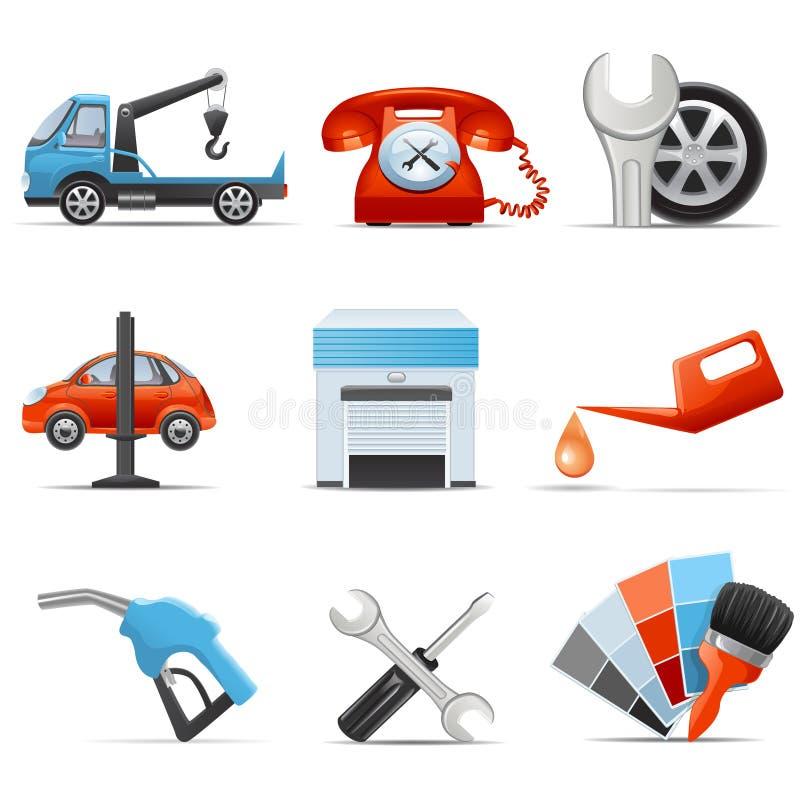 Tjänste- bil och reparationssymboler vektor illustrationer
