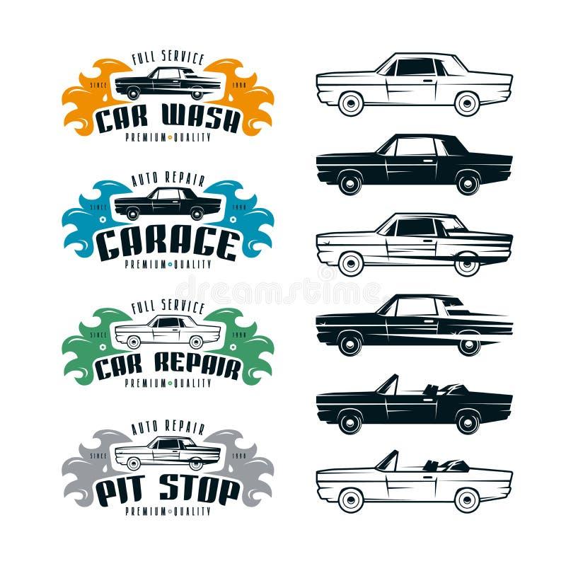 Tjänste- emblem för bil och designbeståndsdelar stock illustrationer