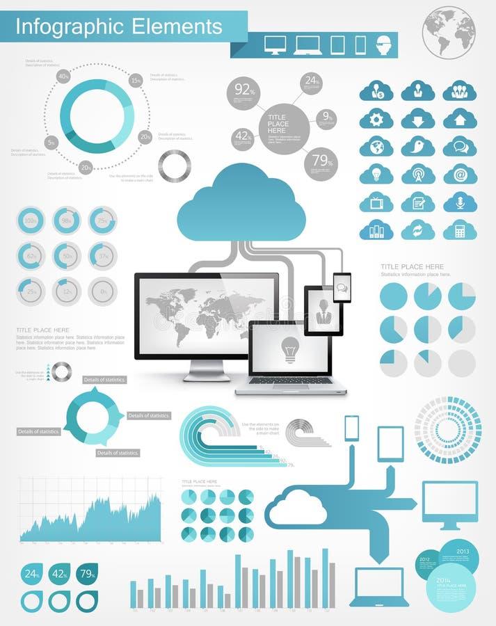 Tjänste- Infographic för moln beståndsdelar royaltyfri illustrationer