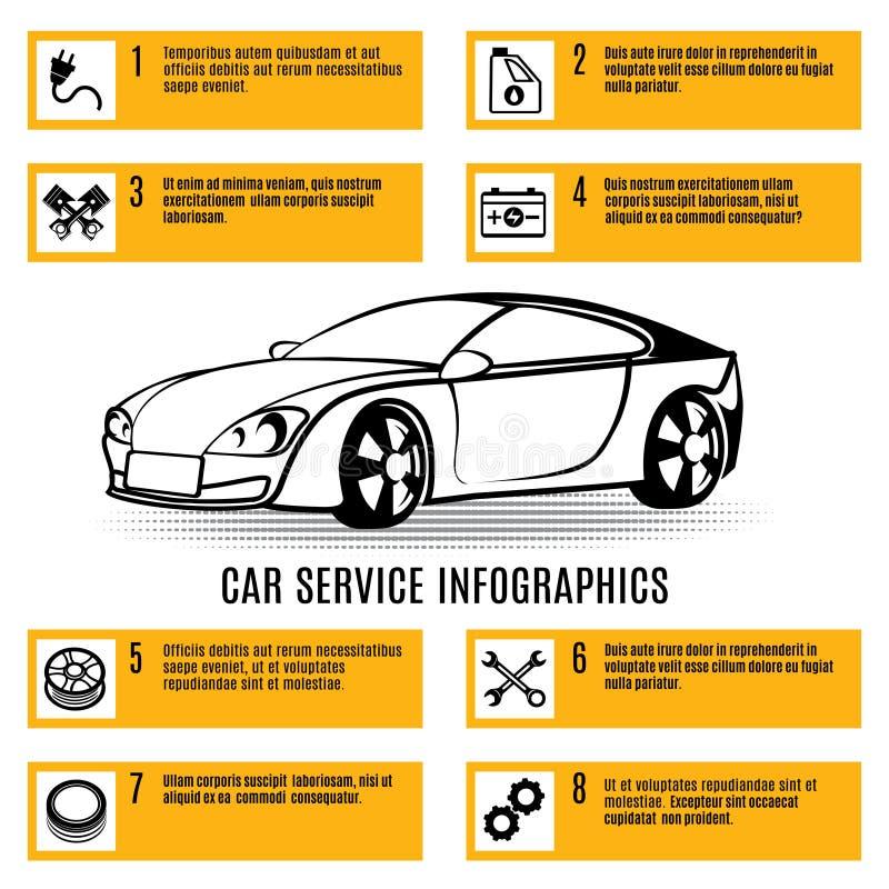 Tjänste- infographics för bil stock illustrationer