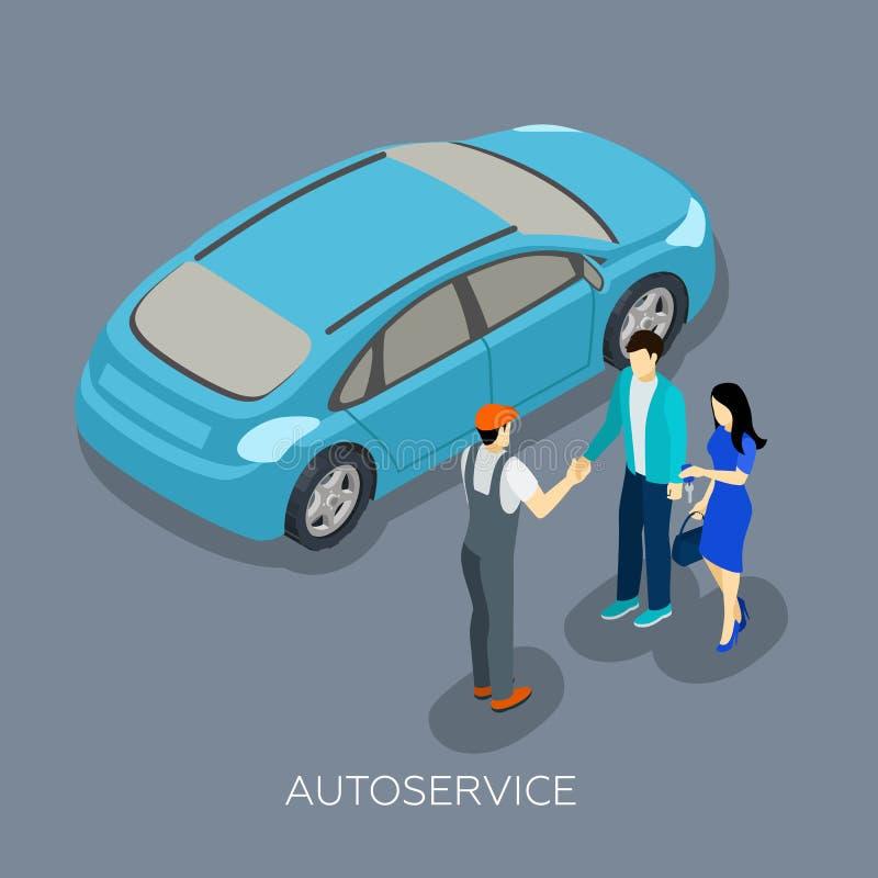 Tjänste- isometrisk mekaniker Customers Composition för automatisk stock illustrationer