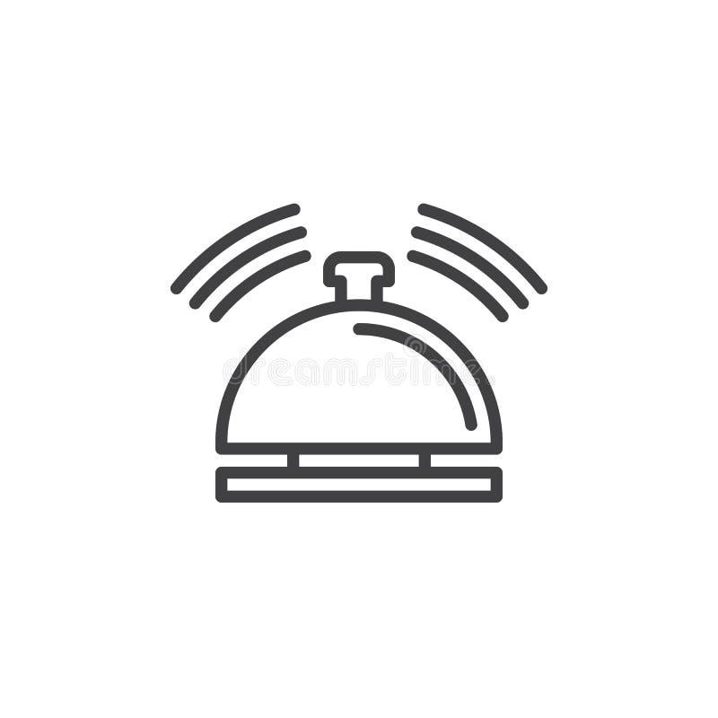 Tjänste- klockalinje symbol, översiktsvektortecken stock illustrationer