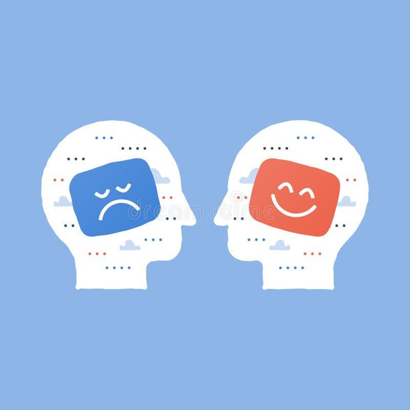 Tjänste- kvalitet, opinionsundersökning, positivt tänka, negativ sinnesrörelse, dålig erfarenhet, bra återkoppling, lycklig klien royaltyfri illustrationer