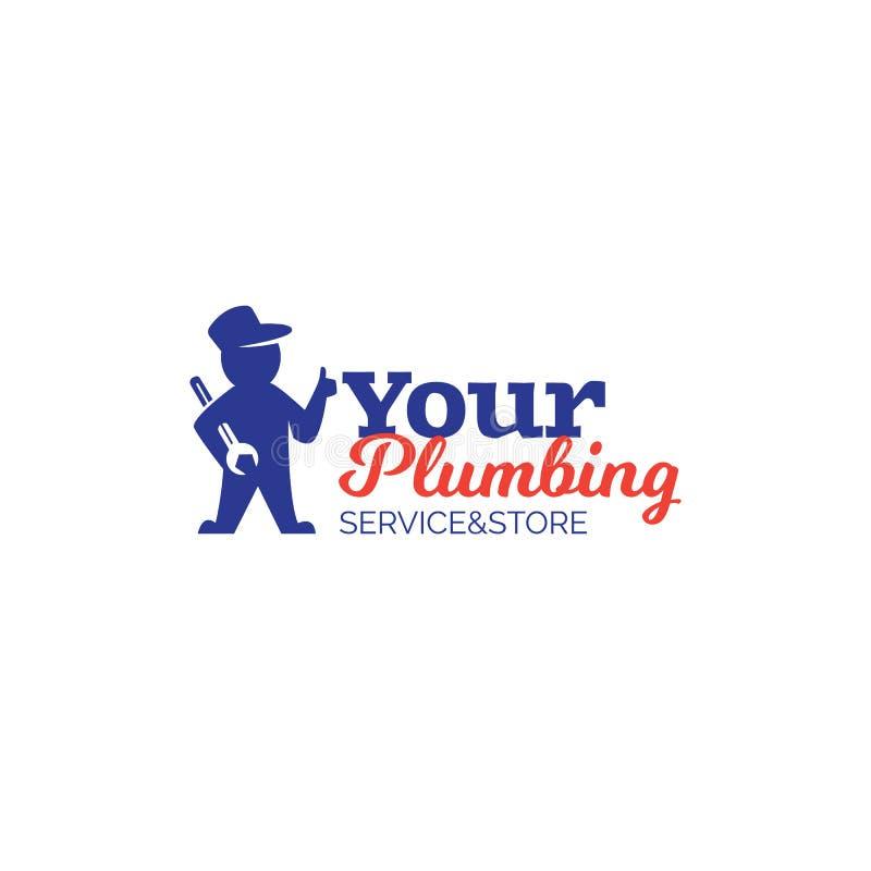Tjänste- logo för rörmokeri med repairmaninnehavskiftnyckeln royaltyfri illustrationer