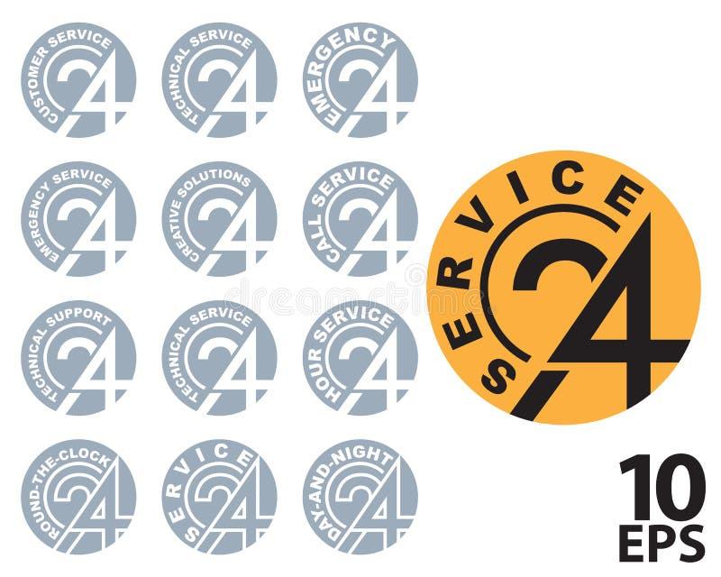 TJÄNSTE- logo för 24-TIMME royaltyfri illustrationer