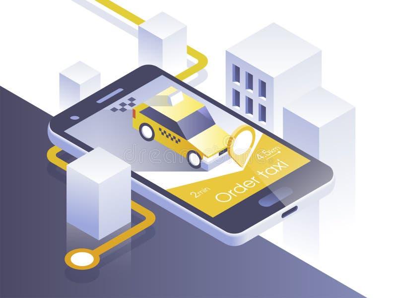 Tjänste- mobil applikation för taxi Isometrisk stad och bil på den smarta telefonen Navigera applikationen också vektor för corel royaltyfri illustrationer