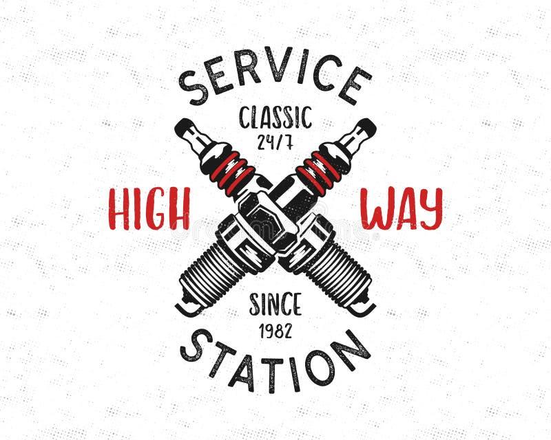 Tjänste- stationsemblemdesign Klassisk garagelogo i retro stil med det monokromma tändstiftet och den höga vägen för typografi royaltyfri illustrationer