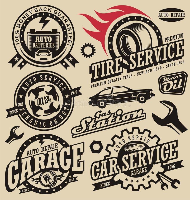 Tjänste- symboler för bil royaltyfri illustrationer