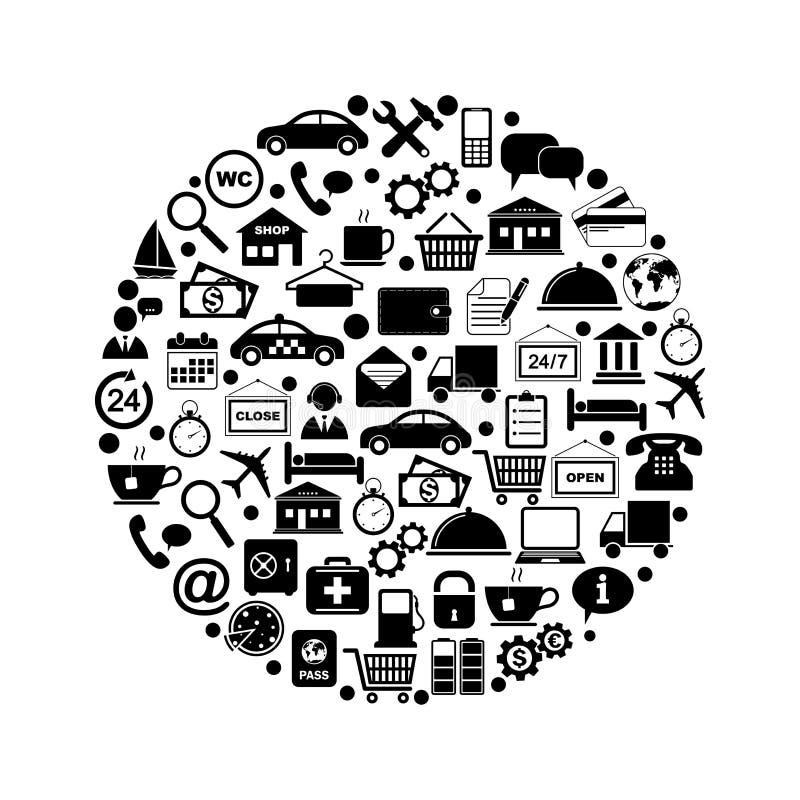 Tjänste- symboler i cirkel stock illustrationer