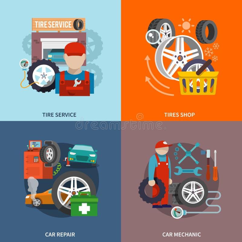Tjänste- symbolslägenhet för gummihjul stock illustrationer
