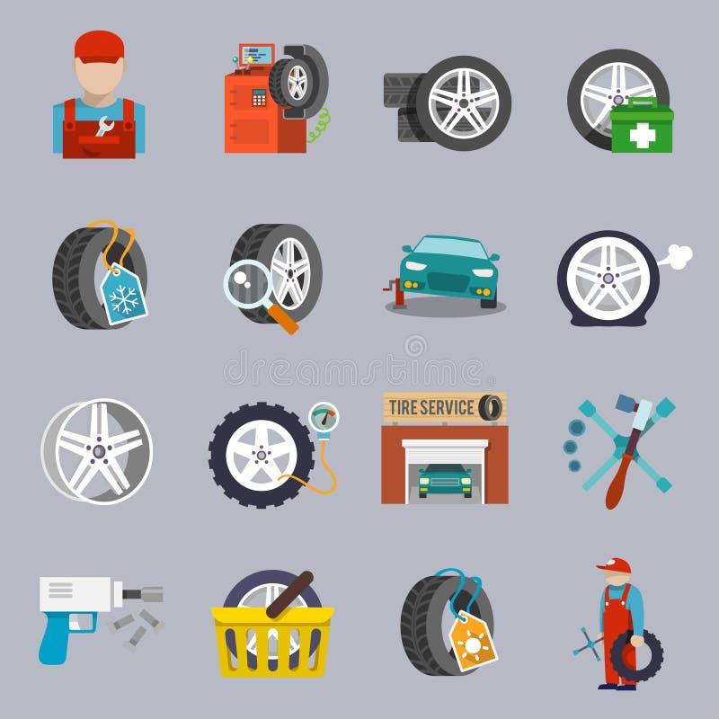 Tjänste- symbolslägenhet för gummihjul royaltyfri illustrationer