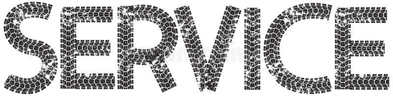Tjänste- text med bokstäverna som göras från motorcykelgummihjulspår stock illustrationer