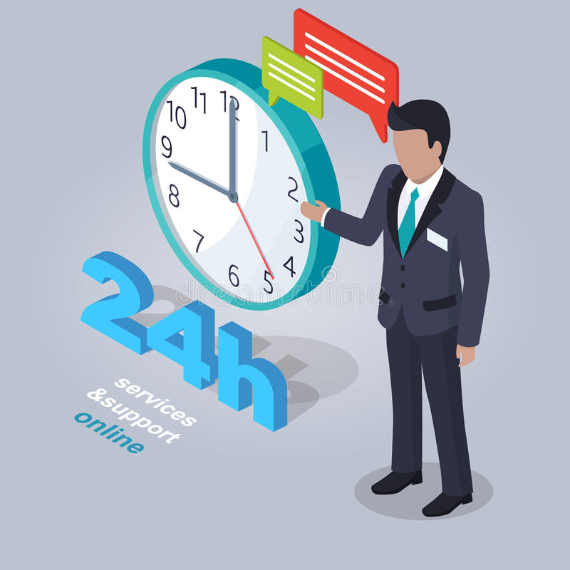 24 tjänste- timmar och service som är online- med assistenten vektor illustrationer
