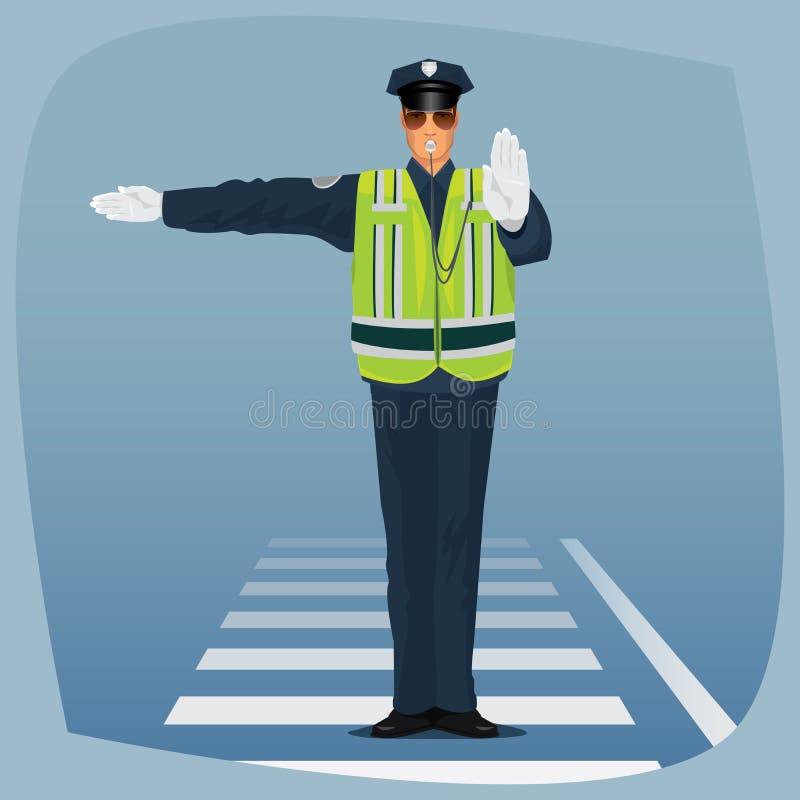 Tjänsteman av anseendet för trafikpolisen på tvärgator royaltyfri illustrationer