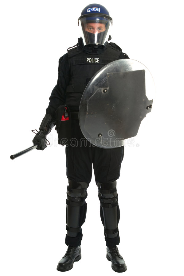 tjänstemanpolistumult royaltyfri foto