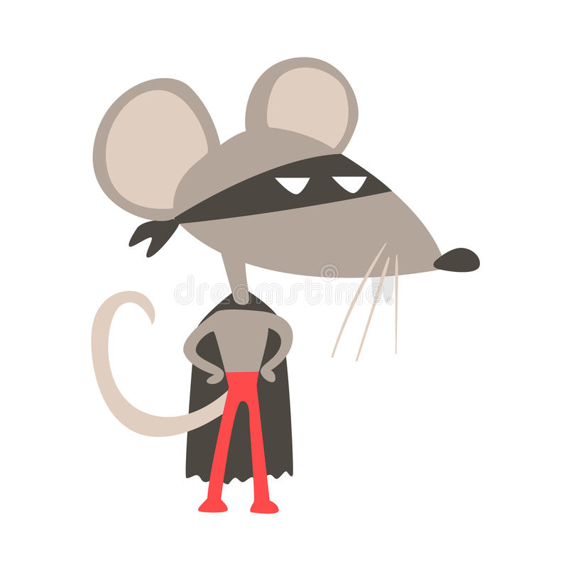 Tjalla djuret som kläs som Superhero med tecken för vigilante för udde komiker maskerat geometriskt vektor illustrationer
