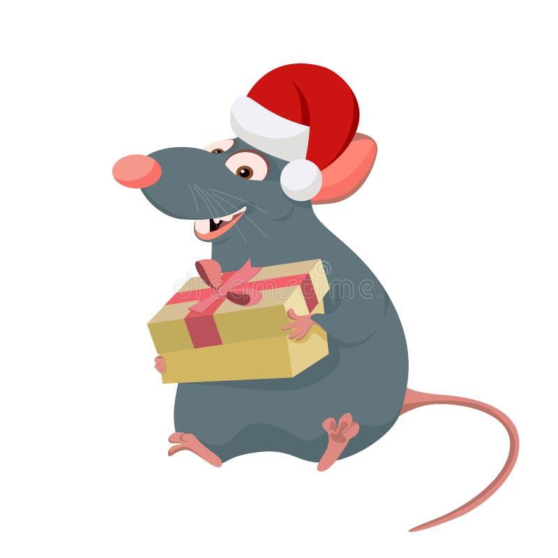 Tjalla i ask för gåva för Santa Claus hattinnehav, i hand och att le vektor illustrationer