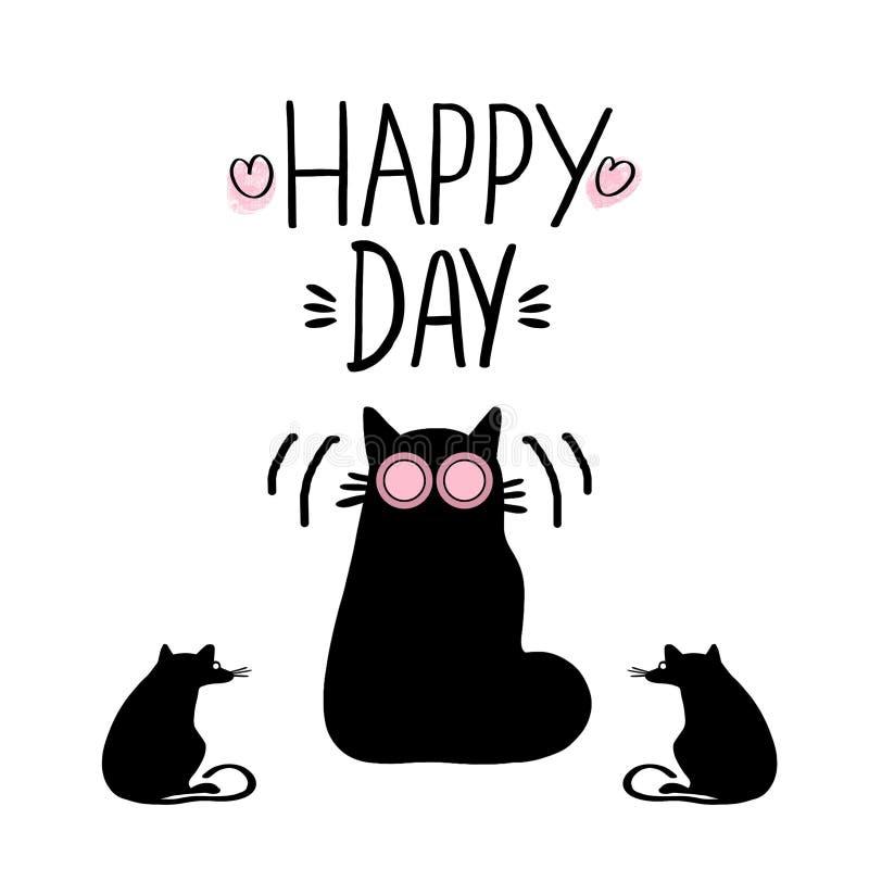 Tjaller det utdragna uttrycket för handen som märker den lyckliga roliga katten för dagen och för konturn med, på vit bakgrund vektor illustrationer