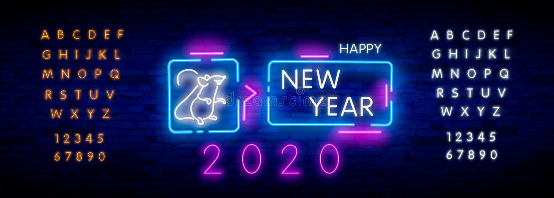 Tjaller tecknet f?r neon tv?tusen tjugo med glat neon 2020 p? bakgrund f?r tegelstenv?gg Vektorillustration i neonstil f?r jul arkivfoto