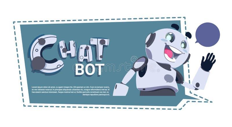 Tjatter för robot för pratstundBotApp gullig eller Chatterbot tekniskt supporttjänstConceptTemplate baner med kopieringsutrymme royaltyfri illustrationer