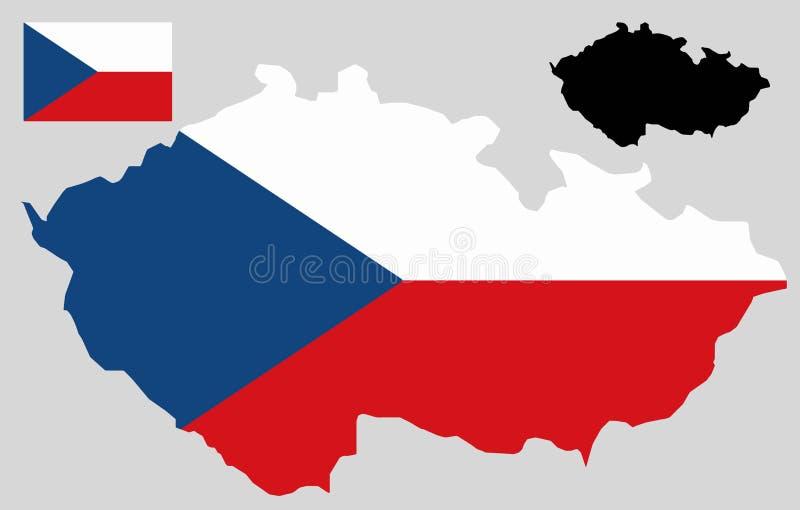 Tjeckienöversikt och flaggavektor royaltyfri illustrationer