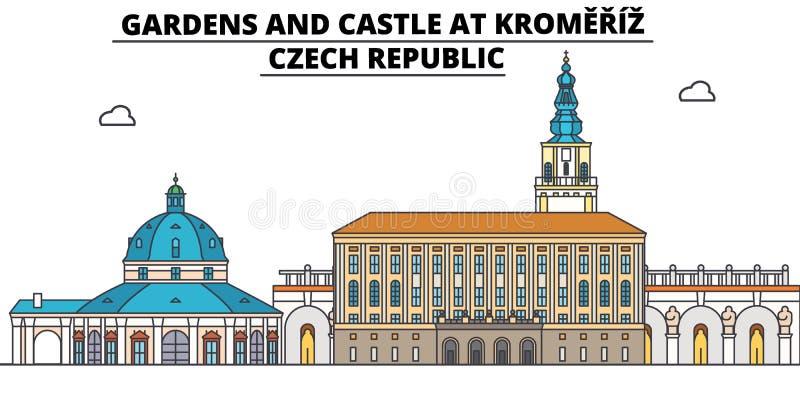 Tjeckien, Kromeriz, trädgårdar och slott, illustration för lopphorisontvektor stock illustrationer