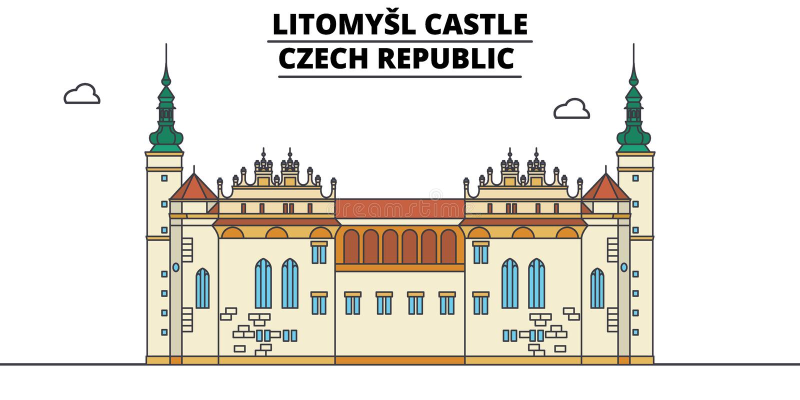 Tjeckien Litomysl slott, illustration för lopphorisontvektor stock illustrationer