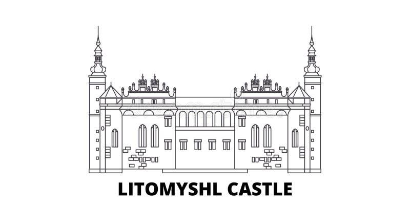 Tjeckien Litomysl slottlinje lopphorisontupps?ttning Tjeckien vektor f?r stad f?r Litomysl slott?versikt royaltyfri illustrationer