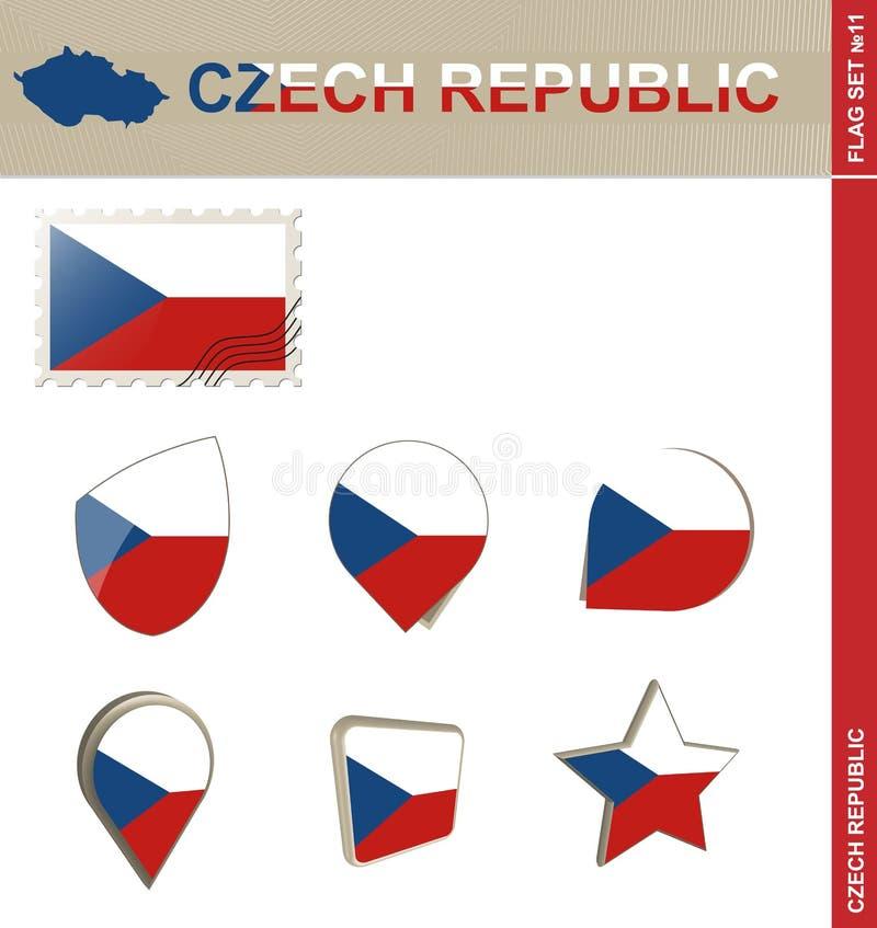 Tjeckienflaggauppsättning, flaggauppsättning #11 vektor illustrationer