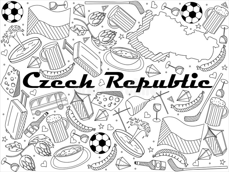Tjeckienlinje illustration för konstdesignvektor stock illustrationer