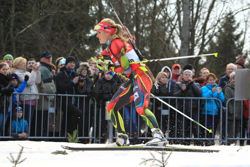 Tjeckisk biathlonstjärna - Gabriela Soukalova arkivbilder