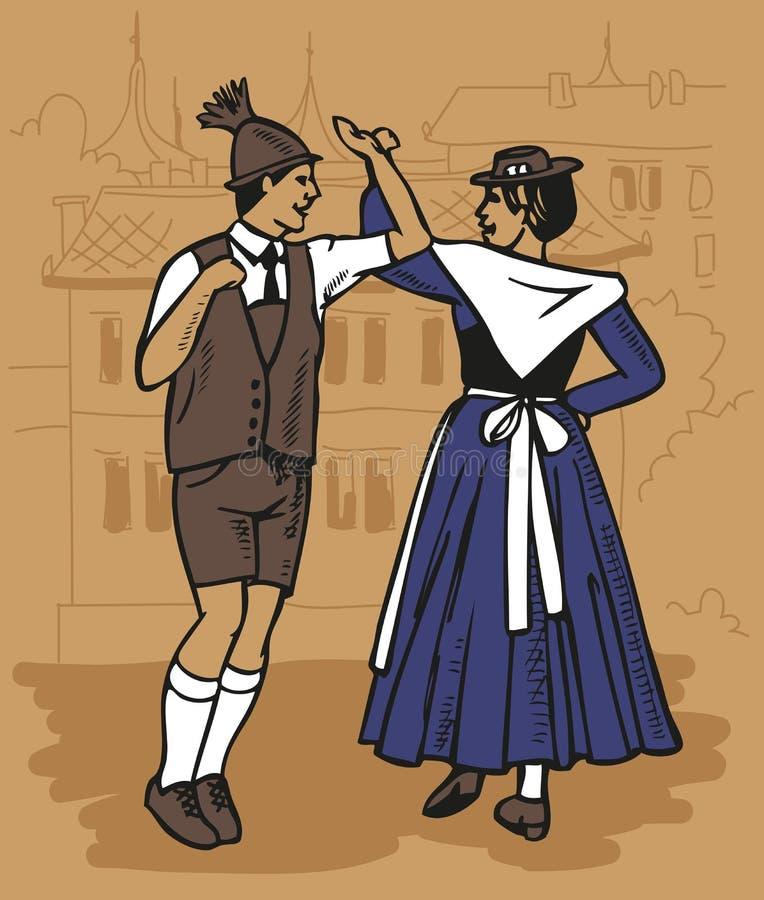 Tjeckisk dans - polka vektor illustrationer