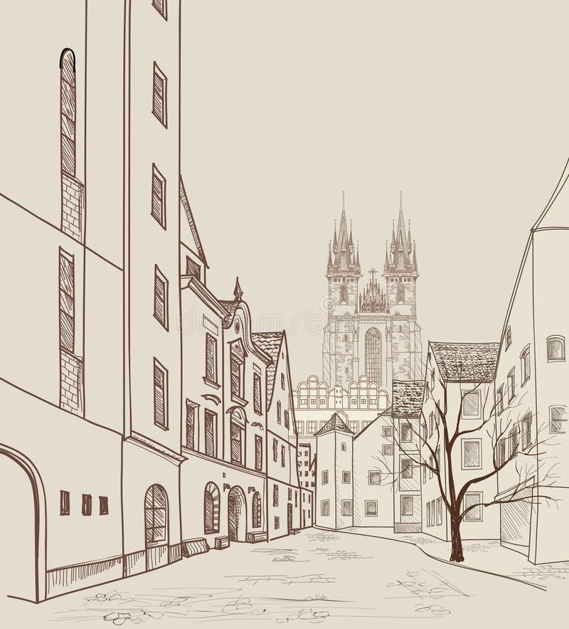 tjeckisk gammal prague republiktown Fot- gata i gammal stad royaltyfri illustrationer