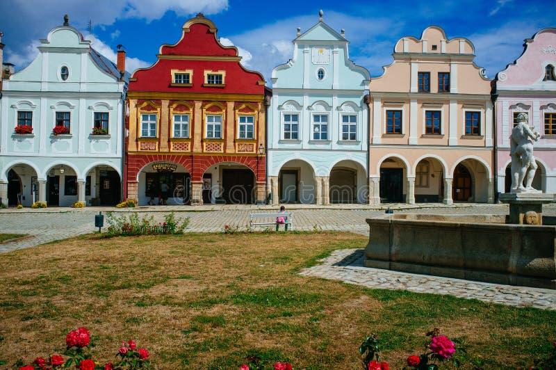 Tjeckisk republik Moravia - Telc 'square1 fotografering för bildbyråer