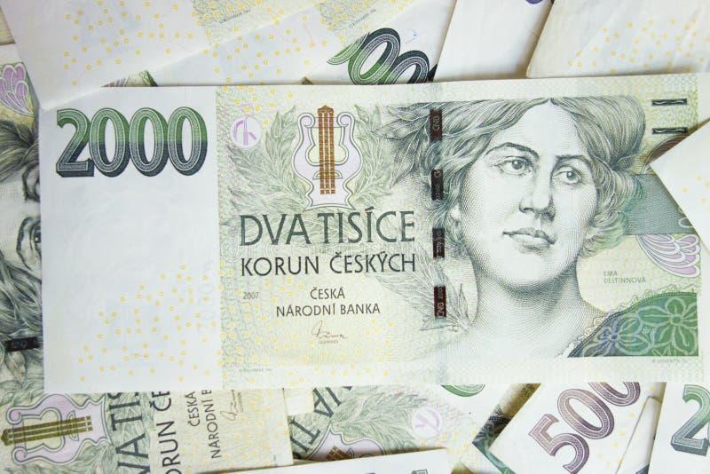Tjeckiska pengar - ordning av tjeckiska sedlar royaltyfria bilder
