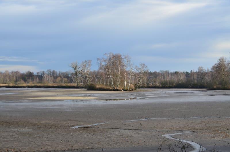 Tjeckiskt landskap, når att ha skördat fiskdamm arkivbild