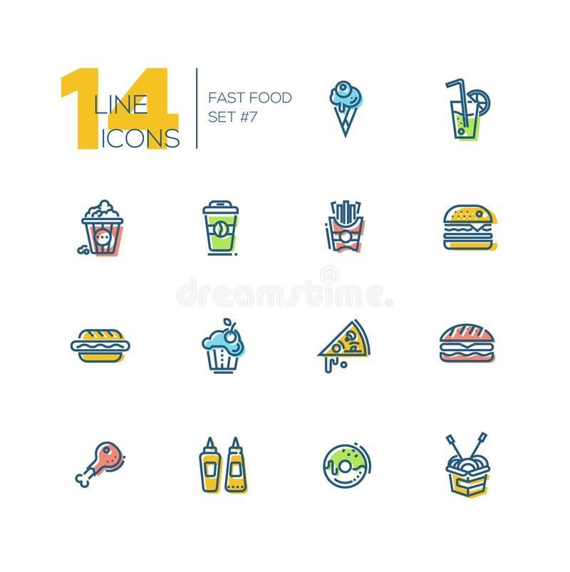 Tjock linje symbolsuppsättning för snabbmatkafémeny stock illustrationer
