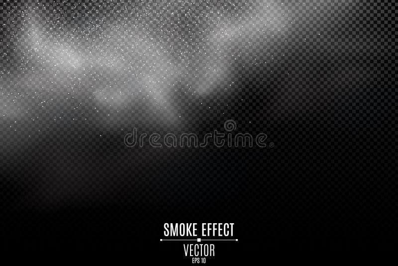 Tjock rök på en genomskinlig mörk bakgrund Ljus miströk från branden Tjockt moln för vitt damm Ånga överst Rökeffekt stock illustrationer