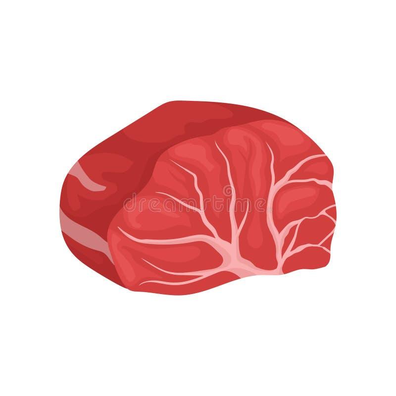 Tjock skiva av nötköttbiff med åder Organisk mat Ny köttprodukt slut upp Plan vektorsymbol stock illustrationer