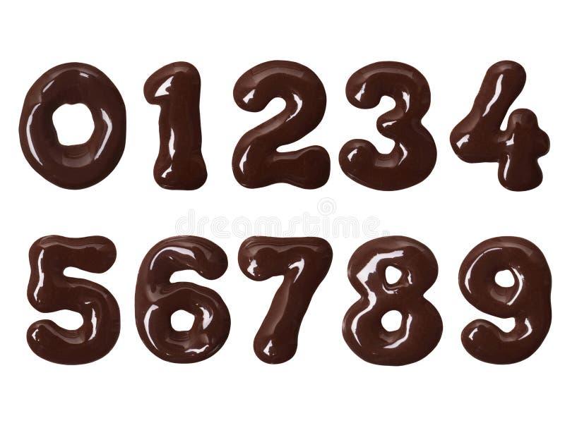 Tjocka nummer gjorde av smältt choklad i hög upplösning vektor illustrationer
