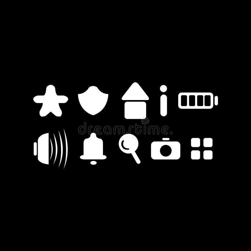 10 tjocka symboler med tecknad filmbegrepp royaltyfri bild