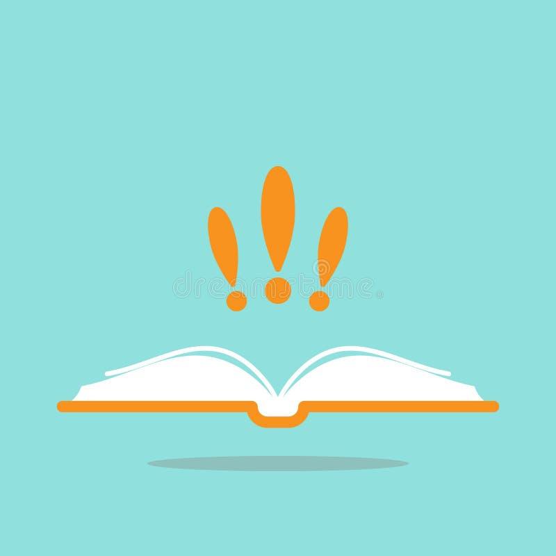 Tjockt öppnad bok med den orange räkningen och tre utropstecken Isolerat på blått Plan läs- symbol vektor illustrationer