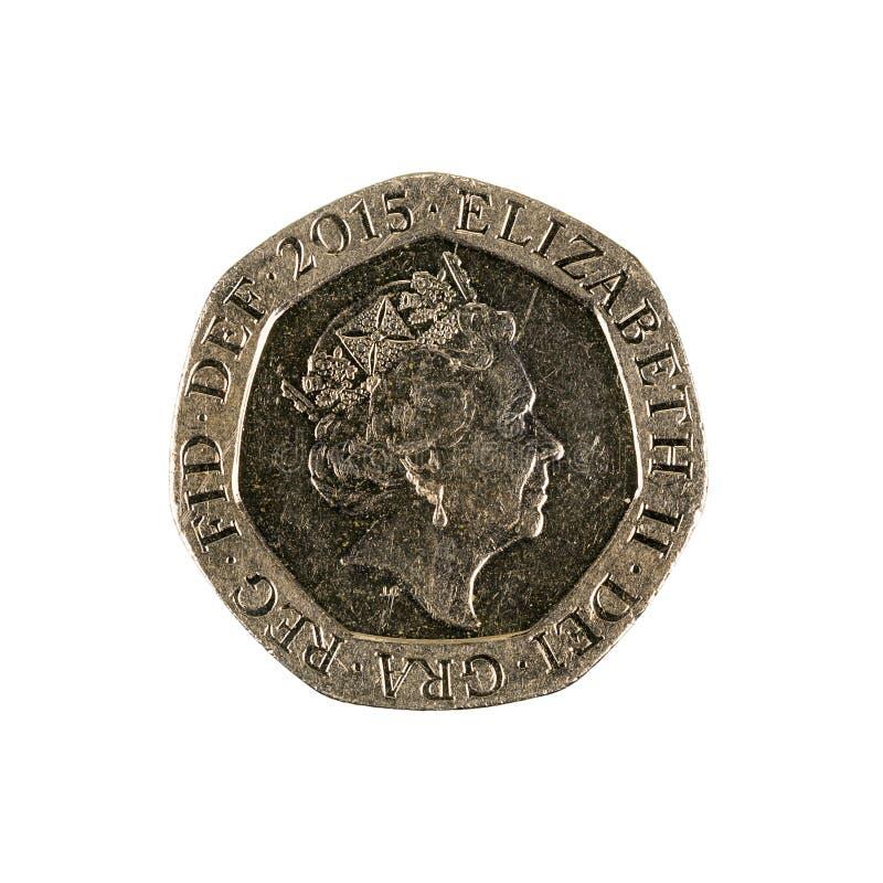 Tjugo brittiska encentmynt isolerat mynt 2015 royaltyfri foto
