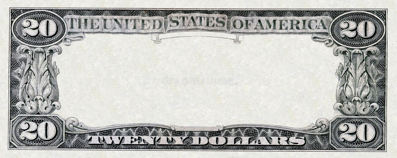 Tjugo dollar ram arkivbild