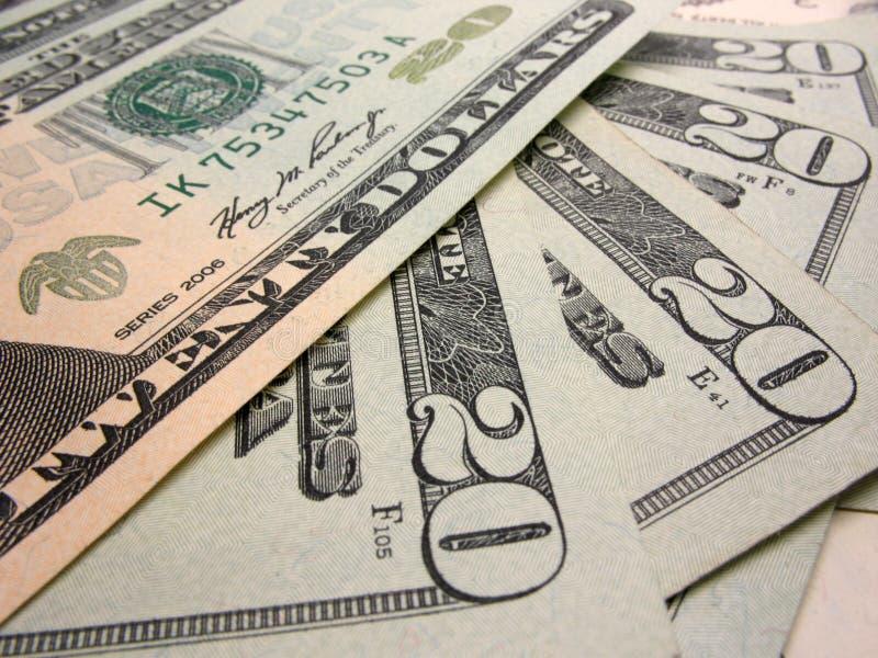 Tjugo dollarbills royaltyfri bild