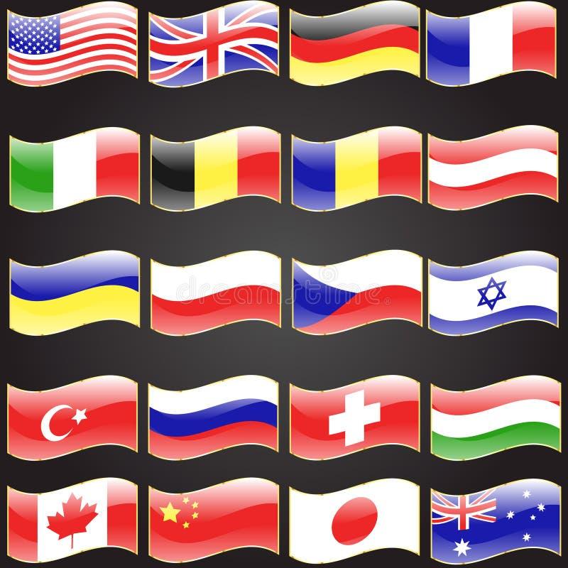 Tjugo flaggor ställde in krabbt flaggaspråk royaltyfri illustrationer