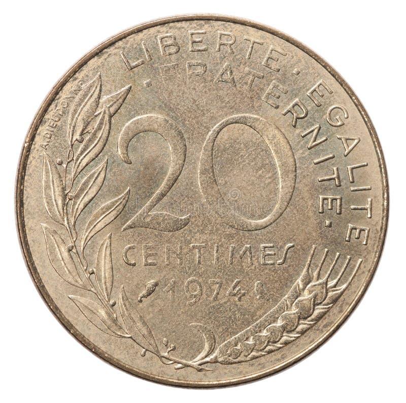 Tjugo franska centimes arkivbild