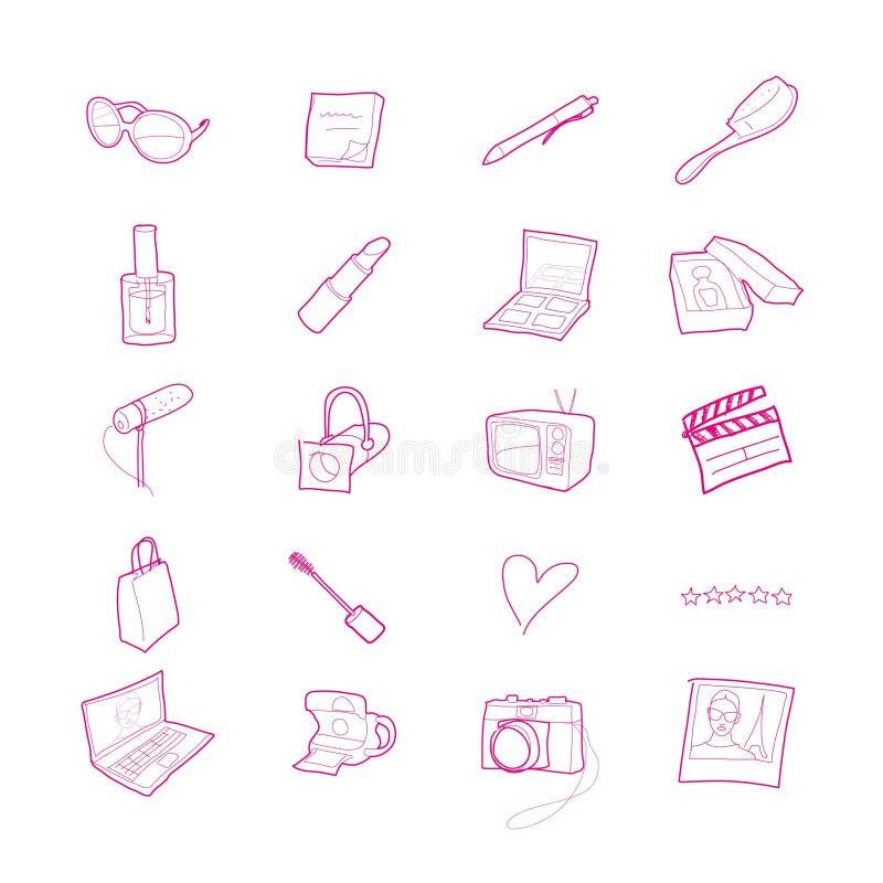 Tjugo hand drog livsstil-, skönhet- och massmediasymboler stock illustrationer