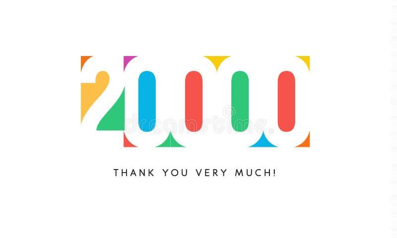 Tjugo tusen abonnentbaner Färgrik logo för årsdagdag royaltyfri illustrationer